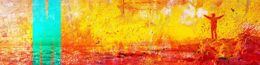 Man on mountain textured painting yellow orange