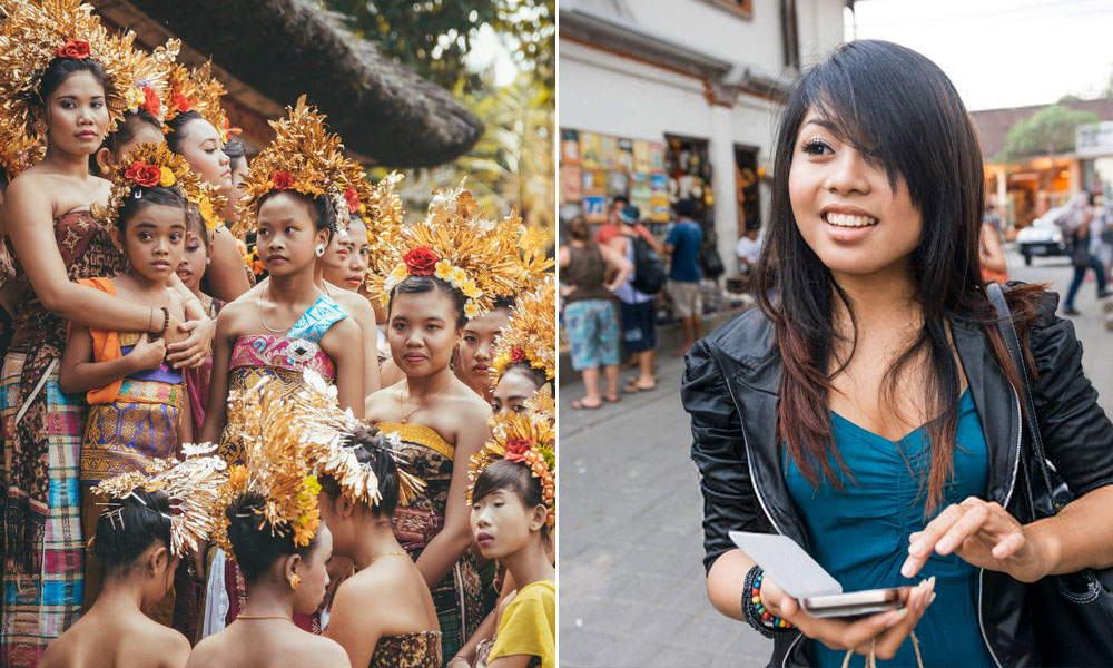 Traditional Balinese dancers, and a young Indonesian woman using a mobile phone