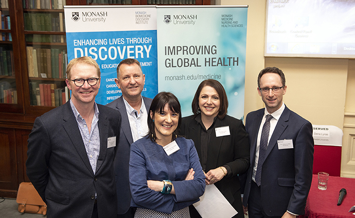 L-R: Professor John Carroll, Associate Professor Mark Davis, Associate Professor Ana Traven, Professor Dena Lyras and Professor Anton Peleg.
