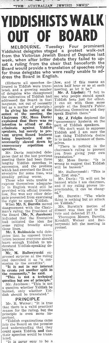 Four delegates walk out in protest against a ruling denying the use of Yiddish at Victorian Board of Deputies meetings, Australian Jewish News 1 April 1960