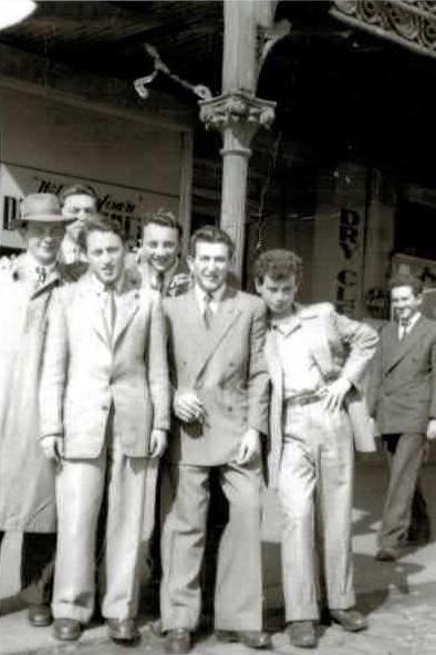 Boys outside Cafe Malinovic, Carlton, circa 1949