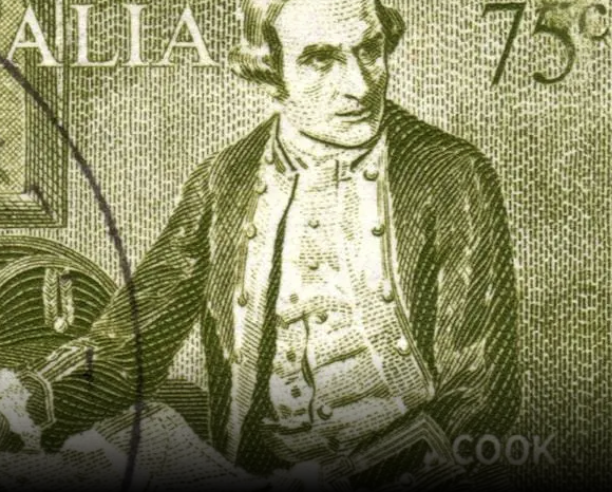 Captain cook on a stamp