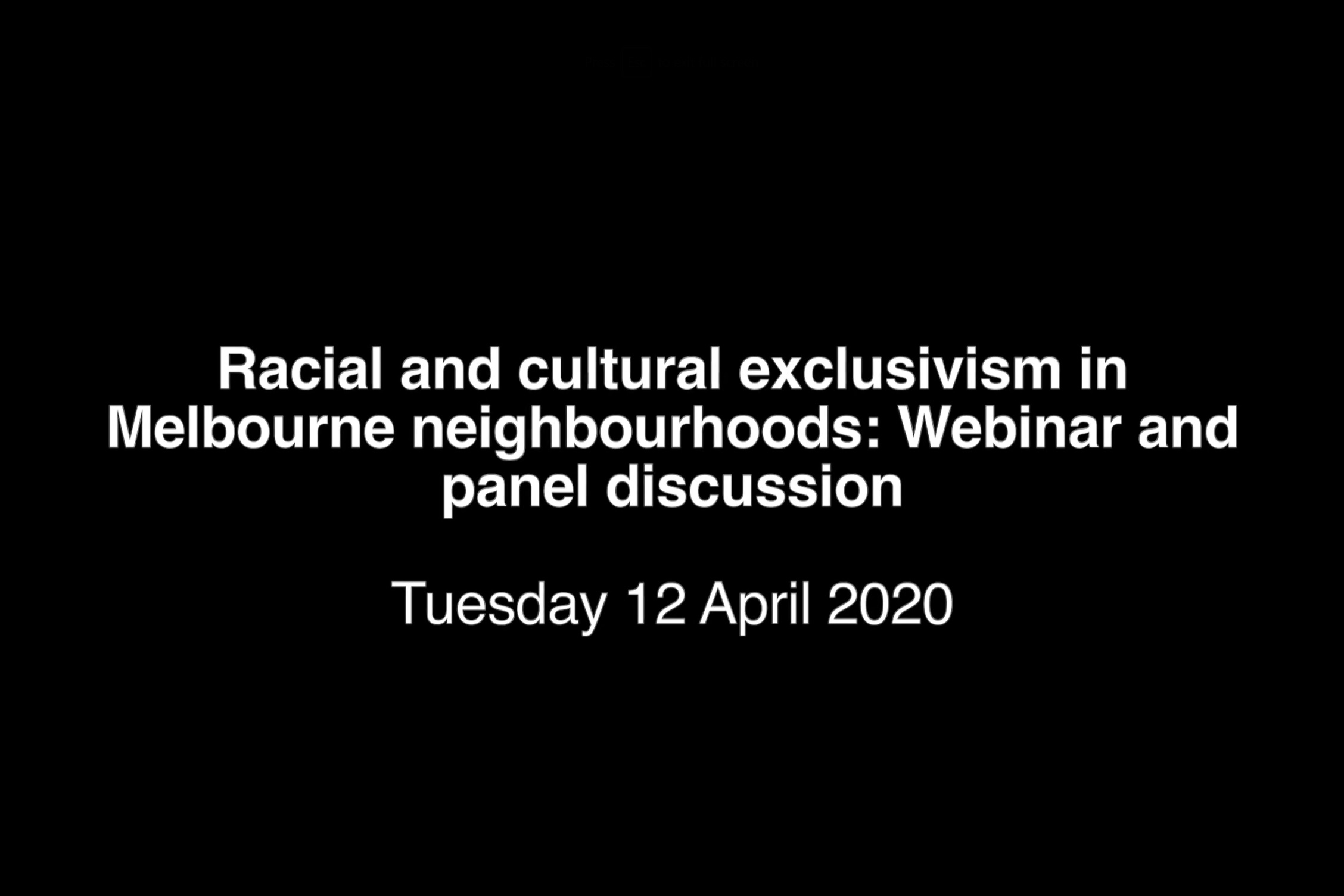Title screen for 'Racial and cultural exclusivism' webinar