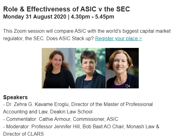 Role and Effectiveness of ASIC Compared with the SEC, Monday 31 August
