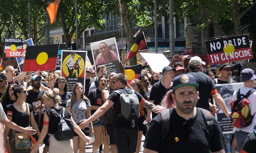 The Aboriginal Parade on Australia Day 2019, Melbourne, Australia.