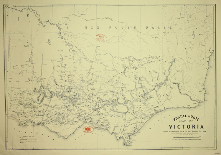 Postal route map of Victoria: complied to accompany the Official Post Office Directory for 1868
