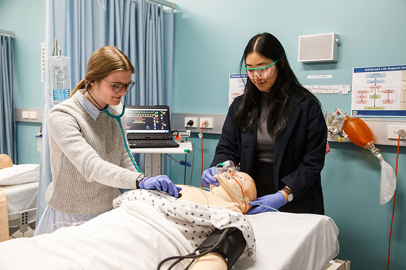 Medical students practising their clinical skills in the Monash Rural Health simulation lab