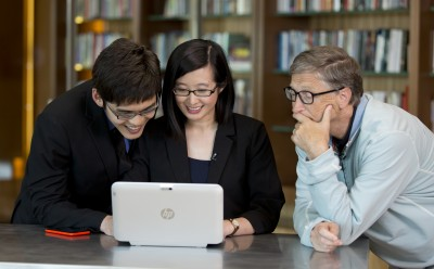 Jarrel (L) and Jennifer (middle) with Microsoft Founder Bill Gates