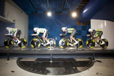 L to R: Glenn O Shea, Rohan Dennis, Michael Hepburn and Jack Bobridge training in the Monash Wind Tunnel