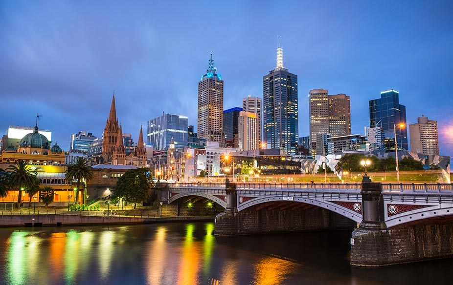 Melbourne City at Night from the Yarra River