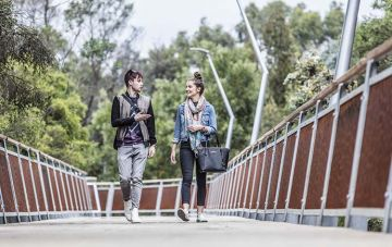 Male and female students walking on bridge