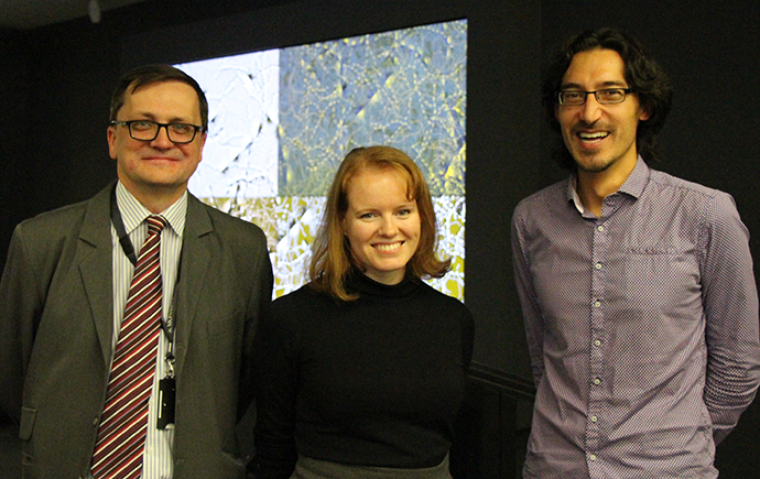 L-R: Director Research, Monash Library Administration, David Groenewegan, research fellow Dr Elizabeth Zavitz, Deputy Head Neuroscience Program, Dr Nicholas Price.