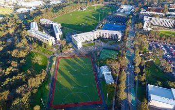 Caulfield campus birds eye view sports fields