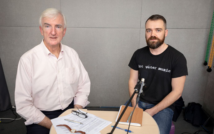 Host Michael Pascoe in the podcast recording studio with Paul Raschky