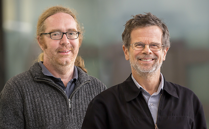 Dr Greg Moseley and Associate Professor Paul Gooley. Credit: Peter Casamento.