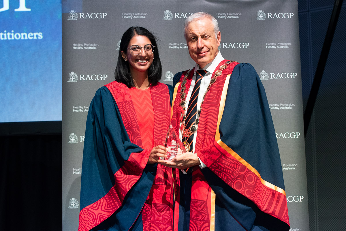 Dr Pallavi Prathivadi receiving the Royal Australian College of General Practitioners award for Registrar of the Year