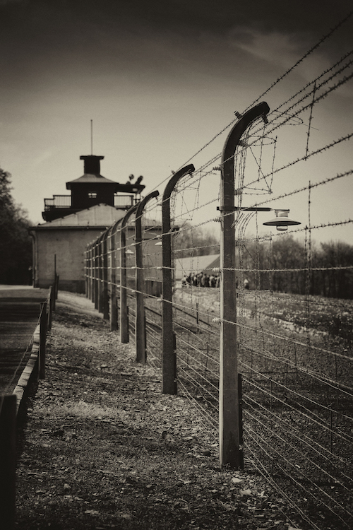 Fence and guard tower at Buchenwald concentration camp, now the Buchenwald Memorial