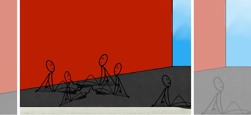 Drawing of a group of stick people and one sitting alone