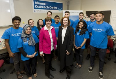 Professor Gardner and Professor Cornish with students working on the Alumni Outreach Program