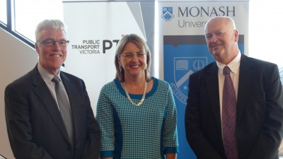 L-R Gary Liddle, CEO of PTV, Minister for Public Transport Jacinta Allan and Professor Graham Currie. Photo credit Eric Brotchie