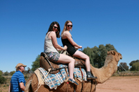 students riding camel