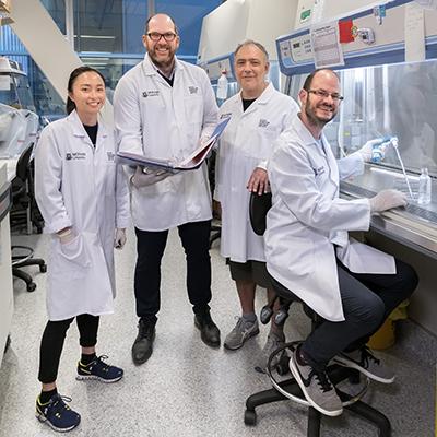 L-R: Dr Jasmine Li, Professor Stephen J Turner, Dr Moshe Olshansky, Dr Brendan Russ.