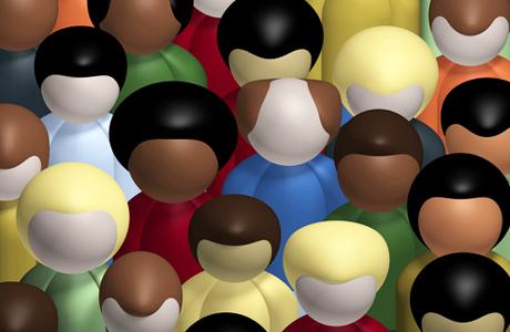 multiracial crowd