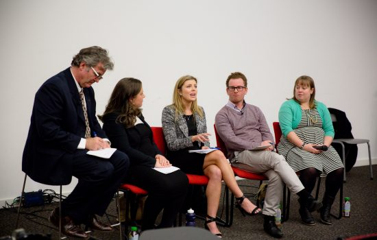 Maeve Martin (centre) speaking in the Arts Alumni panel at 'Arts in the Real World' 2017 event