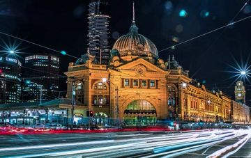 Flinder street station at night
