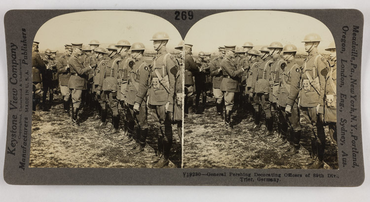 General Pershing decorating officers of 89th Div., Trier, Germany