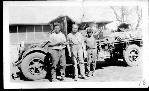 Melech Ravitch in the outback with his Italian driver and Aboriginal assistant