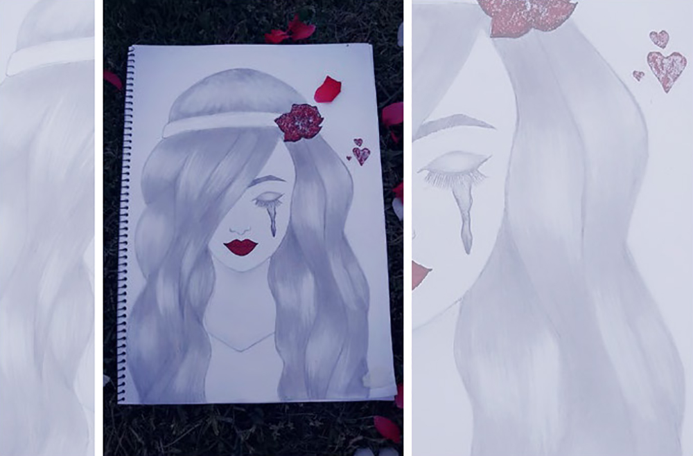 Drawing of a girl with tears streaming down her face