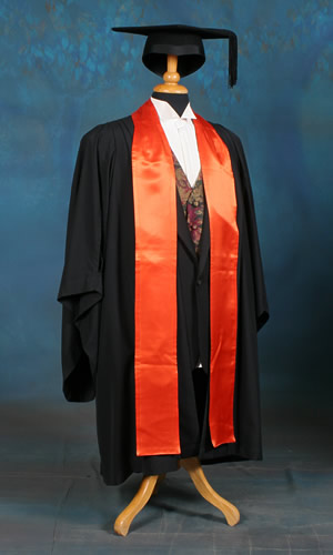 Faculty of Art, Design and Architecture academic dress. Colour: spectrum orange