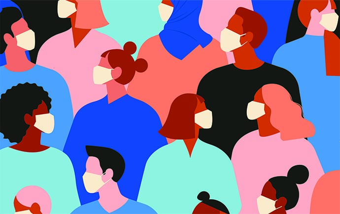 Illustration of people in face masks