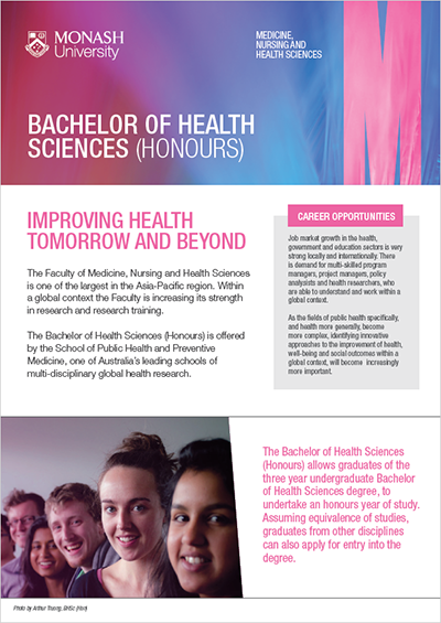 Bachelor of Health Sciences (Honours) course brochure (PDF, 448KB)