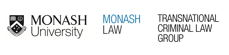 Logos for Monash University, Monash Law and the Transnational Criminal Law Group