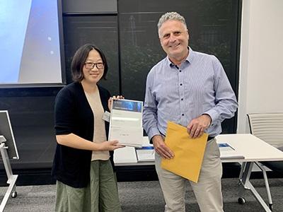 2020 Master of Biostatistics Award winner Xiaofang Wang with Professor Andrew Forbes