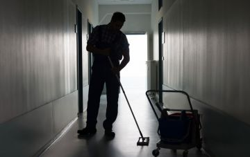 Cleaner cleaning floor