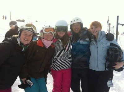 Zoe Gerardson (second left) with her TeamMONASH competitors enjoy the day on the slopes