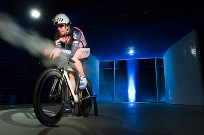 Cadel Evans training in the Monash Wind Tunnel