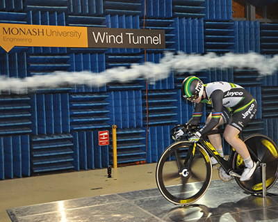 Anna Meares in the wind tunnel