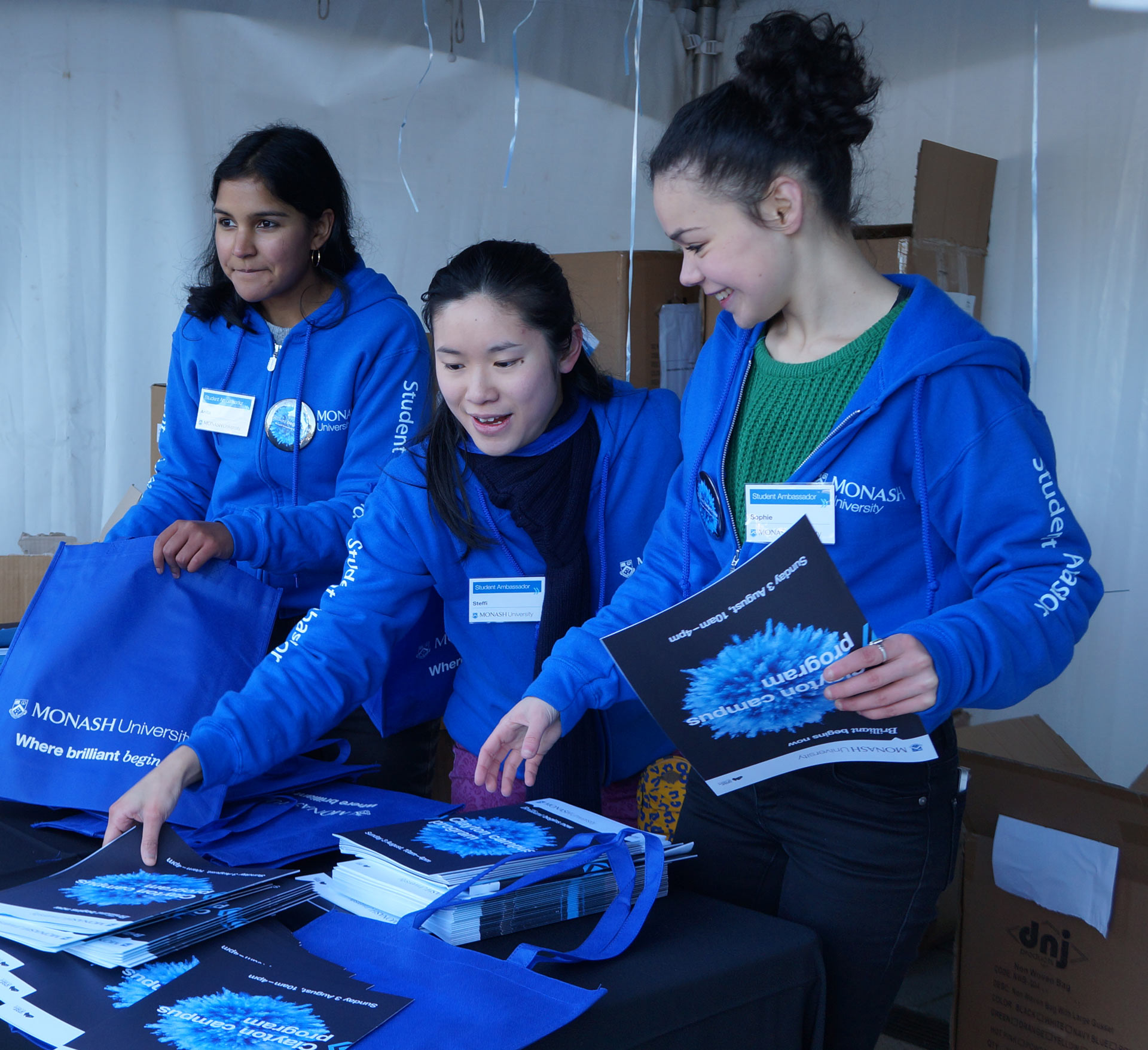 Monash students helping out