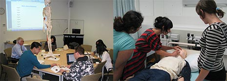 Students in classroom and simulation lab.