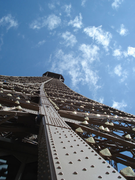 Up close and personal with the Eiffel Tower in Paris, France.