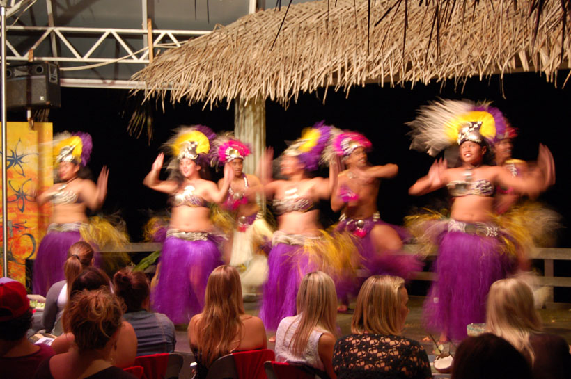 Culture night with traditional costumes and dancing in the Cook Islands
