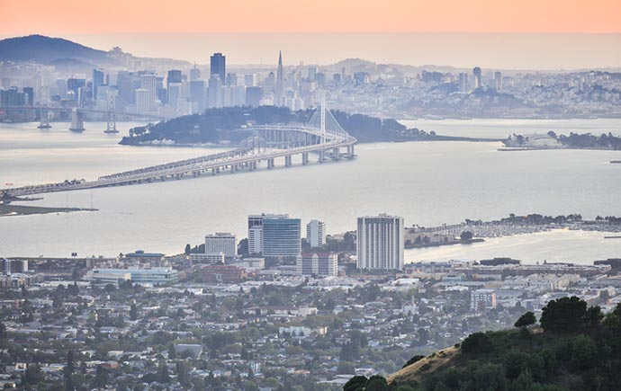 Image: sunset over San Fransisco