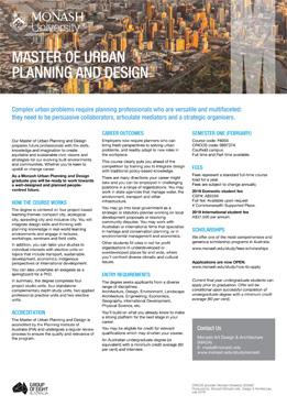 Master of Urban Planning and Design - Study at Monash