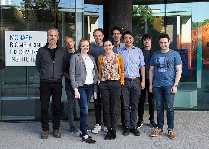 Members of the Wong and Siegal labs outside the Monash BDI.