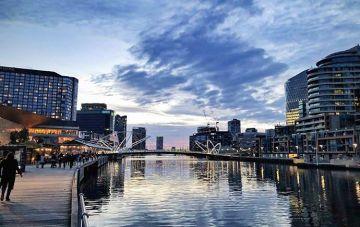 Melbourne South Wharf at dusk