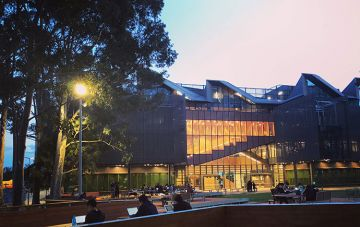 Learning and Teaching Building exterior at night